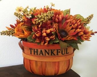 Thanksgiving Centerpiece, Thankful,  Floral Basket Arrangement, Wooden Basket