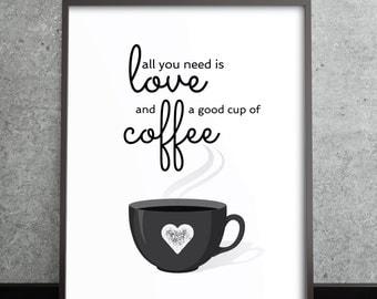 Coffee love decor, Coffee Love kitchen wall art, kitchen decor, coffee print, coffee poster, kitchen art, kitchen decor, coffee quote art