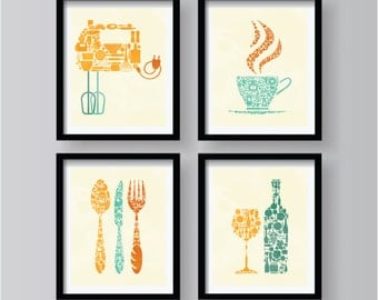 SET OF 4 - Lovely Retro Kitchen decor, kitchen wall art, kitchen decor, kitchen decor set, kitchen wall art, kitchen print, orange teal set