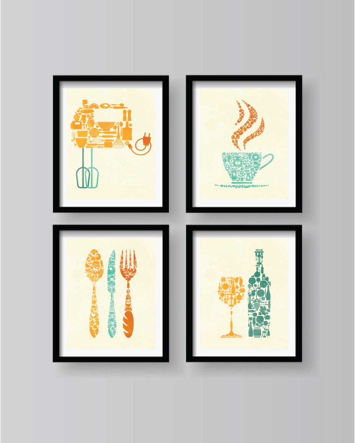 Set of 4 lovely retro kitchen decor kitchen wall by for Kitchen decor sets