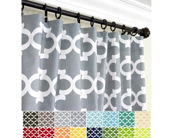 PAIR of Morrocan Window Curtains.Grey Green Black  Blue Yellow Orange Red Curtain Panels.Kitchen CurtainsQuartrefoil Curtains.