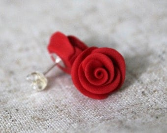 25% OFF! Cherry Red Polymer Clay Rose Stud Earrings