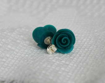 25% OFF! Teal Blue Rose Polymer Clay Earrings