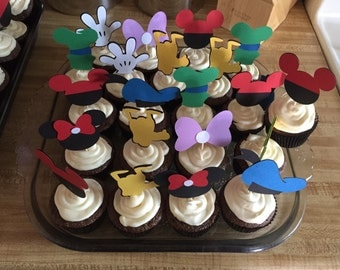 Mickey Mouse Club House Cupcake Toppers, mickey mouse and friends cupcake toppers, mickey mouse club house party
