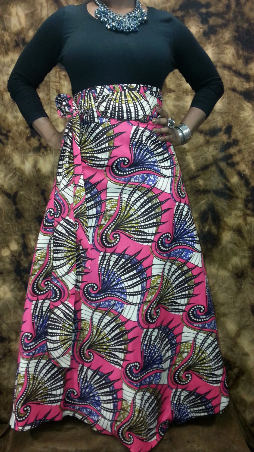 African Print High Waist Maxi Skirts SHOP AFRICAN Wax Print...
