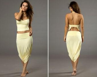 Yellow Harem pants, Skirt Pants, Short Classic Design