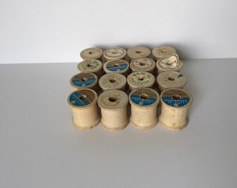 16 Vintage Wooden Spools Thread Spools