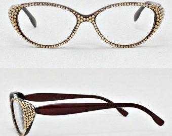 Oval Shaped Reading Glasses - Peach Swarovski Crystal Stones