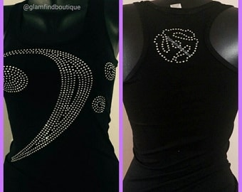Bling Bass Clef Note Tank Top w/45 Disc on Back