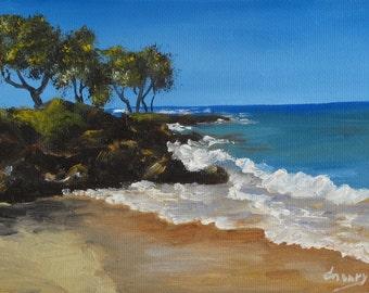 Kihei Beach, Seascape, Original Oil Painting