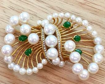 Pearl And Jadeite Brooch