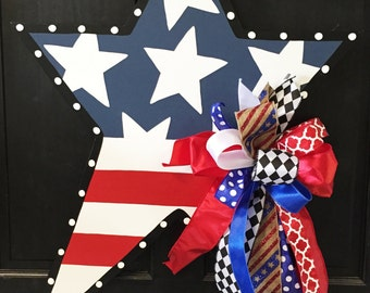 SHIPS NOW!!!! 4th of July Patriotic Star Wooden Door Hanger, Door Decoration