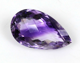 Amethyst Natural Cabochon : 11.30cts 100% Natural Rutile Purple Amethyst Gemstone Pear Cabochon Checker Bord Cut 12*20*9h 116/16