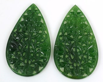 74.00cts 100% Natural Serpentine Gemstone Green Pear Hand Carved 53*30mm Jewelry