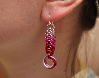 "Pink and Red Chainmaille Earrings - ""Be Mine"""