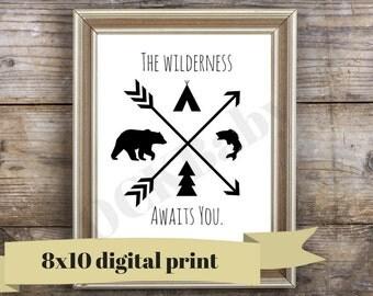 The Wilderness Awaits Digital Wall Art - Arrow Nursery Art - Instant Download - Printable Art - Woodland Nursery Art - Camping Nursery Print