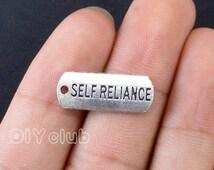 20pcs of Antique Tibetan silver tone Self Reliance charms pendant 21x8mm