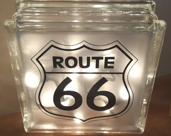 Route 66 Road Sign Vinyl Decal for Glass Block