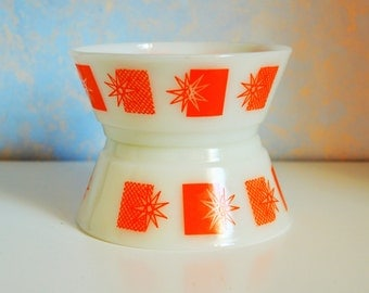 "Vintage and Rare Fire King Orange  ""Atomic Stars"" Cereal Bowls, mid century modern kitchen milk glass"