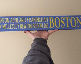 Boston marathon sign, 26.2 miles, wooden sign, boston marathon route, running sign, marathon finisher, i ran boston, 26.2 home decor