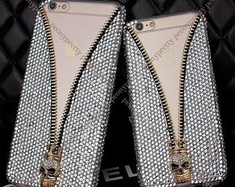 rhinestones faux pearl iphone 5s/6/6 plus/6s/6s plus zipper mobile cell phone cover case