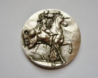 Salvador Dali Vintage Sterling Silver Coin Medal, Dionysos, Unicorn, Pallas Athena 1966, Man's Woman's Gift