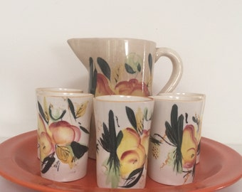 Hand Painted Ceramic Pitcher and Cups - Pear and Peach Motif Pitcher Set