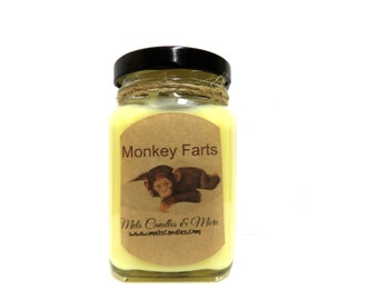 6oz Monkey Farts - Victorian Square Glass Jar Soy Candle  Sophisticated and Timeless