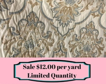 FABRIC SALE!!!  Soft Blue and Brown Damask Upholstery Fabric - Upholstery Fabric By The Yard