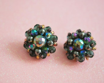 Vintage Iridescent cluster earrings clip ons