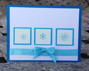Snowflake Card; Christmas Card; Holiday; Handmade Card