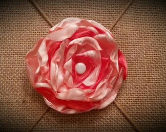 M2M Janie and Jack This shabby chic handmade satin flower barrette is made to match Janie and Jack's Coral Carousel line for women and girl