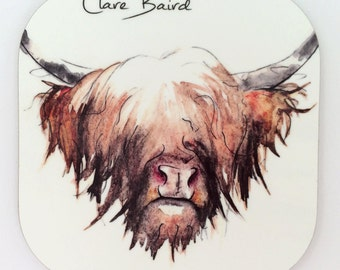 Highland Cow Coasters x4 - Home and Gift - Tableware - Table Mats - Cow Coaster - Wooden Coaster  - Highland Cow