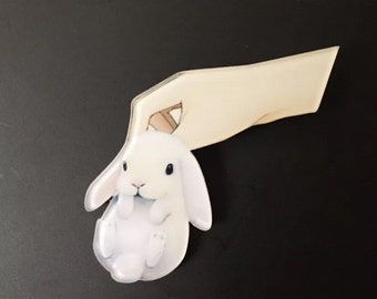 Grab a white fluffy bunny rabbit funky kitsch brooch pin