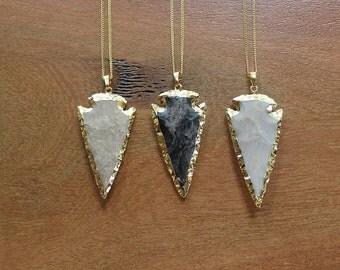 Arrowhead Necklace / Jasper Arrowhead Gold Necklace