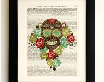 ART PRINT on old antique book page - Sugar Skull with Flowers, Vintage Upcycled Wall Art Print, Encyclopaedia Dictionary Page, Fab Gift!