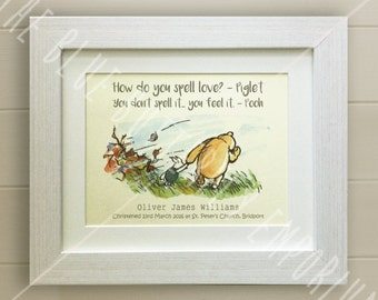 PERSONALISED Winnie the Pooh Christening Quote Print, New Baby, Nursery Picture Gift, Pooh Bear, *UNFRAMED* Beautiful Gift, Piglet