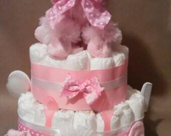 Diaper cake, girls diaper cake,poodle diaper cake, girls cake, poodle cake, centerpiece , poodle stuff,