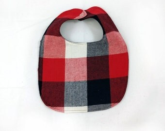 Red Plaid Baby Bib - Lumberjack Bib - Baby Bib - Dribble Bib - First Birthday Gift - Unique Baby Shower Gift - Hipster Baby Bib