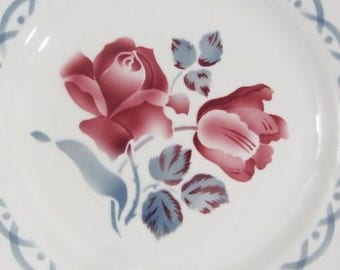 4 Digoin Sarreguemines, 'Cannes' plates, burgundy rose & smoky blue pattern, 1950's French vintage, French dresser plates, 2 sets available,