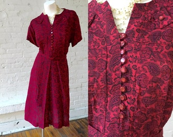 Burgundy and Black Paisley 1940s Vintage Dress