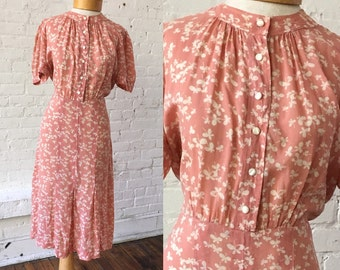 Vintage Pink Dress with White Butterfly Flowers