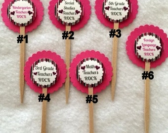 Set Of 12 Customized Teacher Cupcake Toppers Of Your Choice