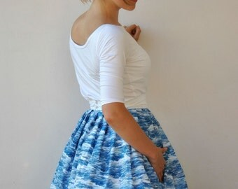 Full Gathered Skirt Sea Pattern Vintage Inspired