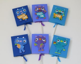 12 Googly Eye Monster Lollipop Candy Cover - Monster Boy / Girl Birthday Party Favor - Monster Party Classroom Favors - Treat Birthday Box