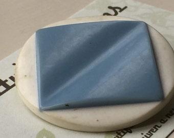 Vintage Buttons - white blue plastic