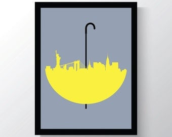 How I Met Your Mother, Wall Art Print, New York Skyline, Yellow Umbrella Print, 8x10 Wall Art