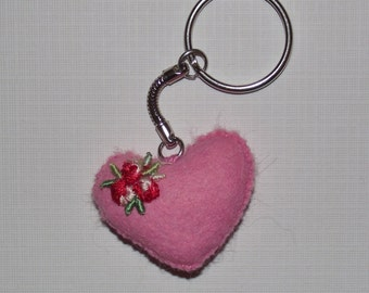 felt heart keyring, heart keychain, felt heart, Valentine's Heart