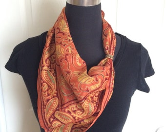 Vintage Paisley Pattern Silk Scarf in Burnt Orange, Purple and Yellow Colorways - FREE SHIPPING EVERYWHERE
