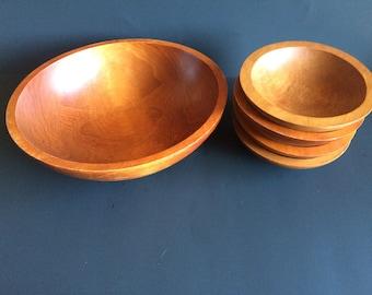 Set of 5 Baribocraft Wooden Salad Bowls Made in Canada